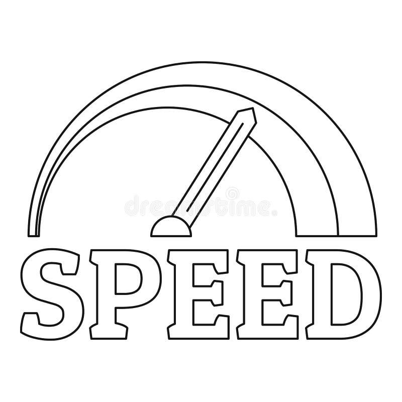 Het embleem van de brandsnelheidsmeter, overzichtsstijl stock illustratie