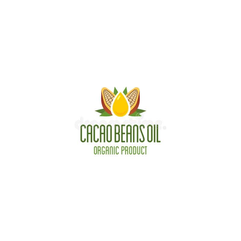 Het embleem van de cacaoolie Biologisch product vectorembleem stock illustratie
