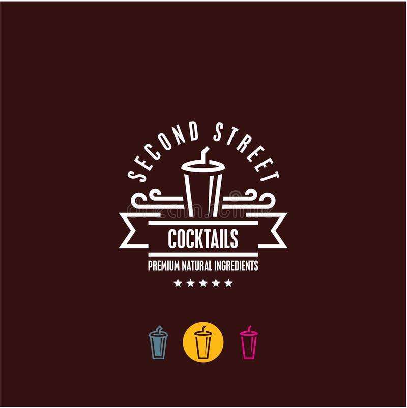 het embleem van de cocktailbar, milkshakepictogram stock illustratie
