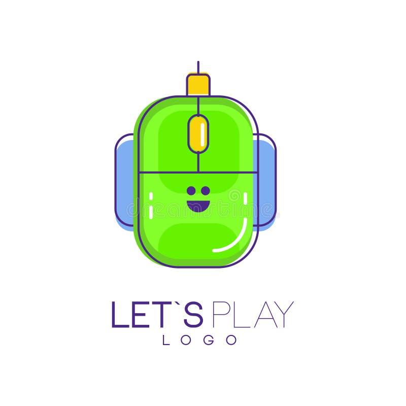 Het embleem van de computermuis Digitaal technologieconcept Laat s-spel Het lineaire pictogram met groen en het blauw vullen Vect vector illustratie