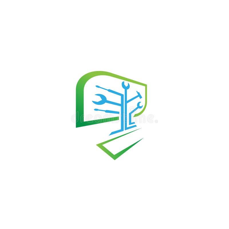 Het Embleem van de computerreparatie - Digitale computer Logo Template vector illustratie