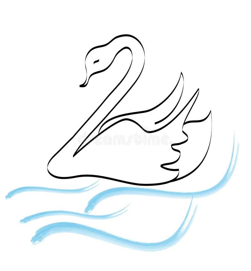 Het embleem van de de handtekening van de zwaan stock illustratie