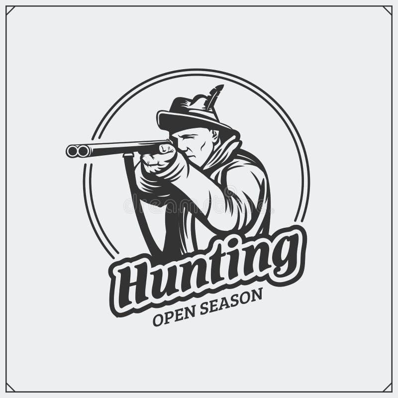 Het embleem van de de jachtclub Jager met een kanon stock illustratie