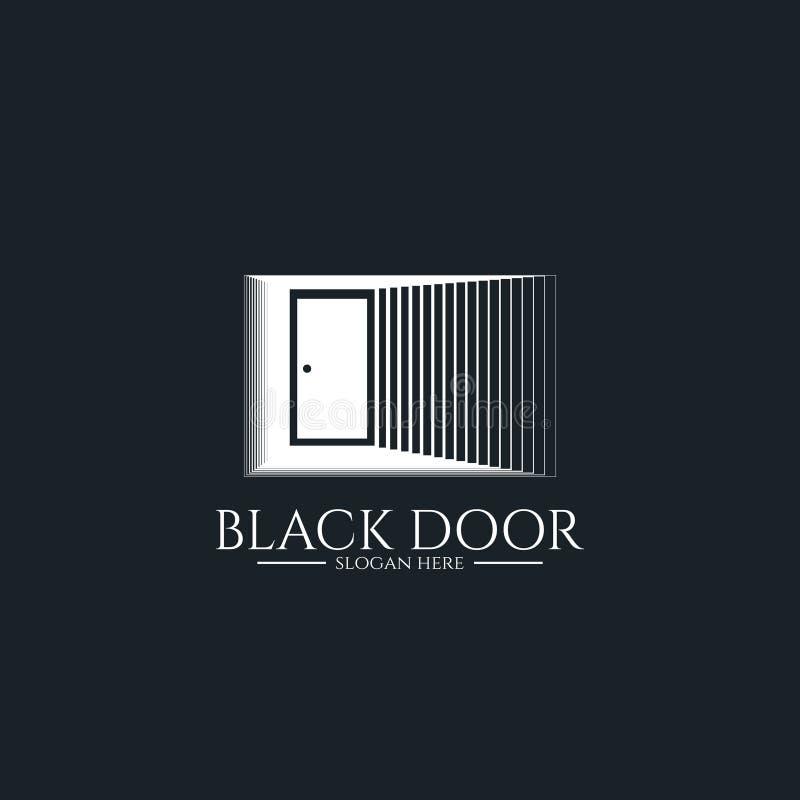 het embleem van de deurpoort voor huisingang minimale houten zwarte huisdeuropening of onroerende goederenzaken architectuur of s stock illustratie