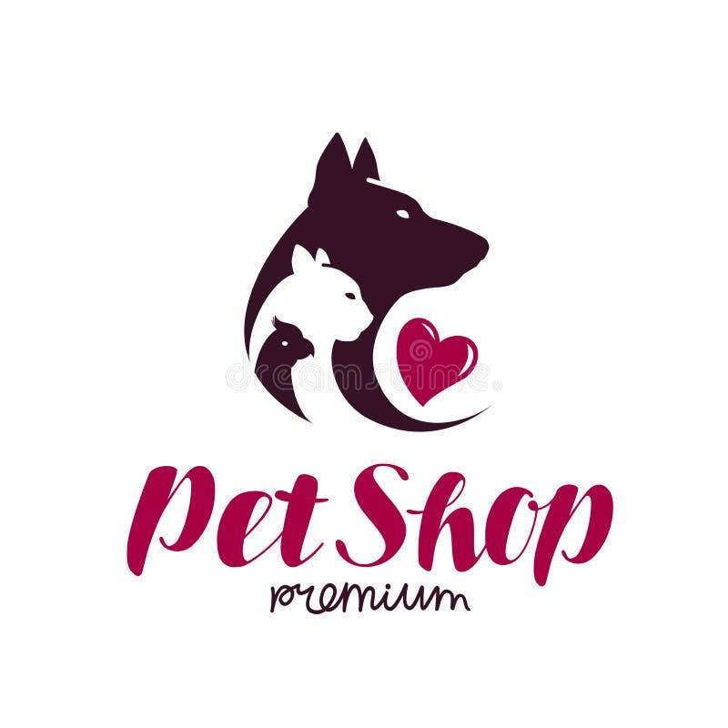 Het Embleem van de Dierenwinkel Dierlijk schuilplaats, hond, kat, papegaaipictogram of etiket Van letters voorziende Vectorillust stock illustratie