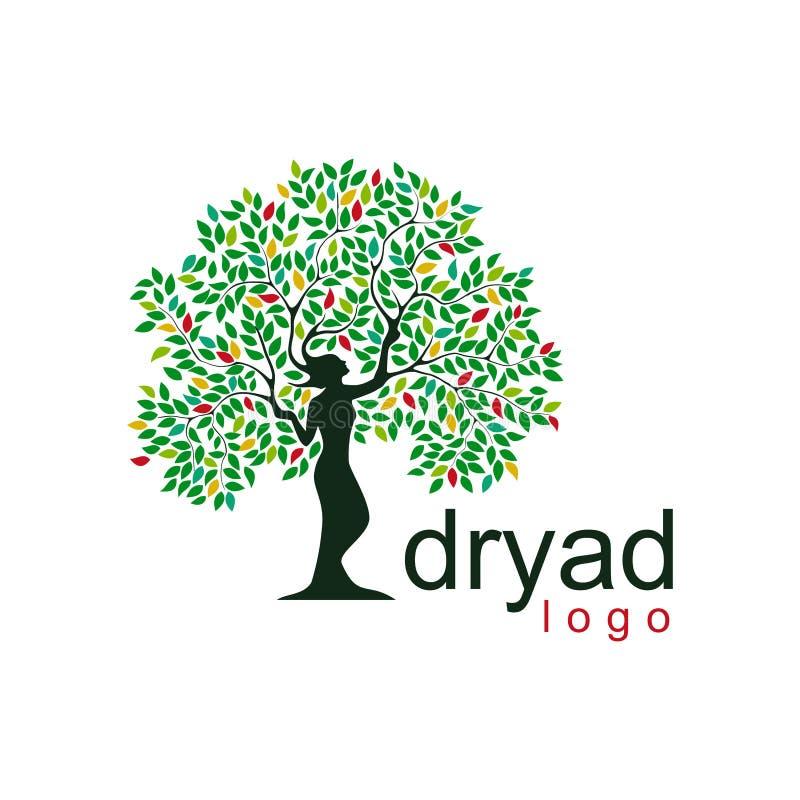 Het embleem van de dryadeboom de illustratie van de mythologieboom royalty-vrije stock foto