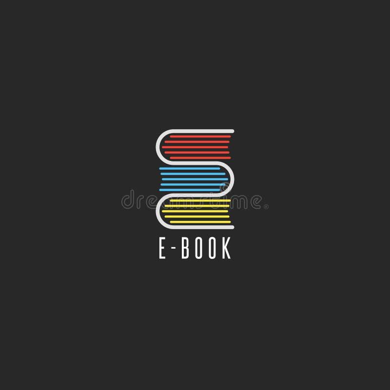 Het embleem van de e-bookboekhandel, online het embleemmodel van het schoolonderwijs, die clubpictogram, stapelboeken in de vorm  royalty-vrije illustratie