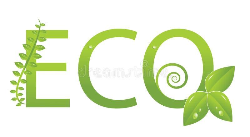 Het embleem van de ecologie (bescherm het milieu) royalty-vrije illustratie