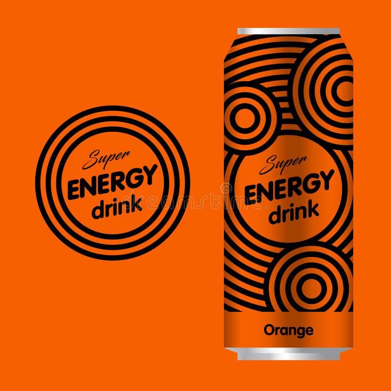 Het embleem van de energiedrank Het embleem van de machtsdrank Embleem en Verpakking met een oranje achtergrond vector illustratie