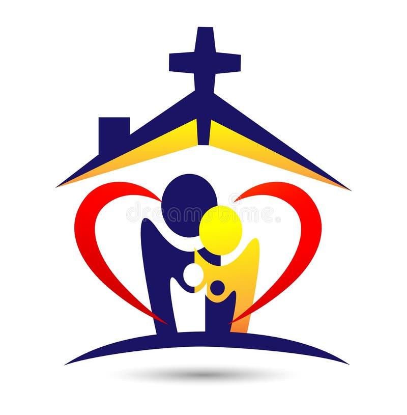 Het embleem van de familiekerk, gelukkige huisliefde, zorg van kerkembleem op witte achtergrond stock illustratie