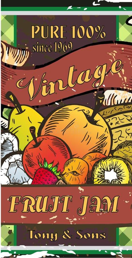 Het embleem van de fruitjam stock illustratie