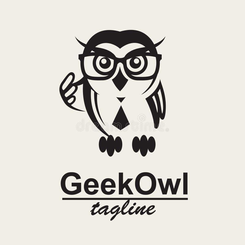 Het embleem van de Geekuil stock illustratie