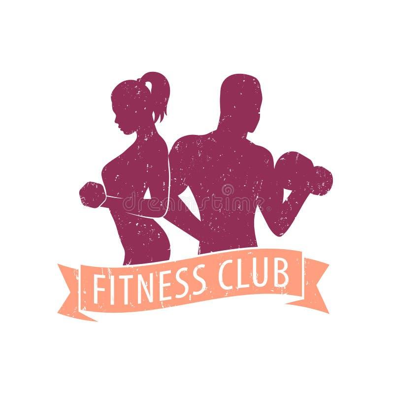 Het embleem van de geschiktheidsclub met atletische meisje en de mens vector illustratie