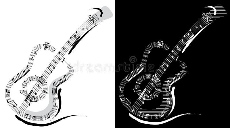Het embleem van de gitaar royalty-vrije illustratie