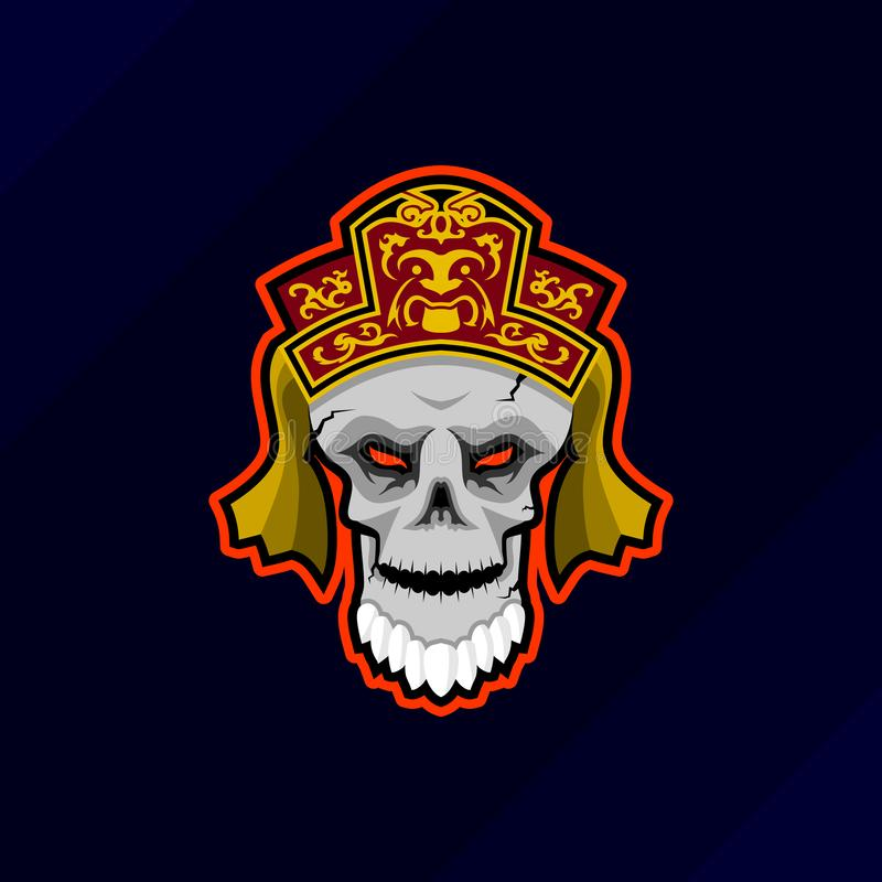 Het embleem van de het gokkenmascotte van de vampierschedel esport vector illustratie