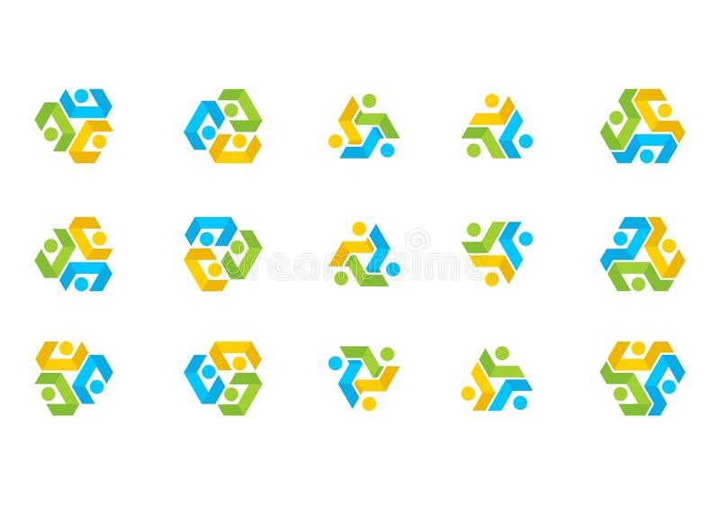 Het Embleem van de groepswerkverbinding, het Team van het illustratieonderwijs, de Sociale vector van het Netwerk vastgestelde on royalty-vrije illustratie