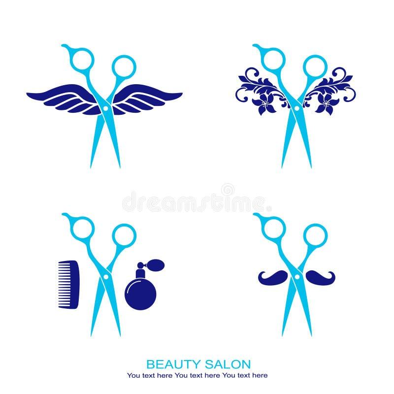 Het embleem van de haarsalon dat met schaar wordt geplaatst stock illustratie