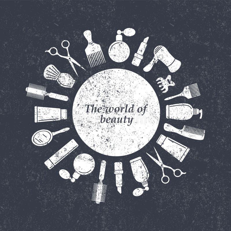 Het embleem van de haarsalon grunge stock illustratie