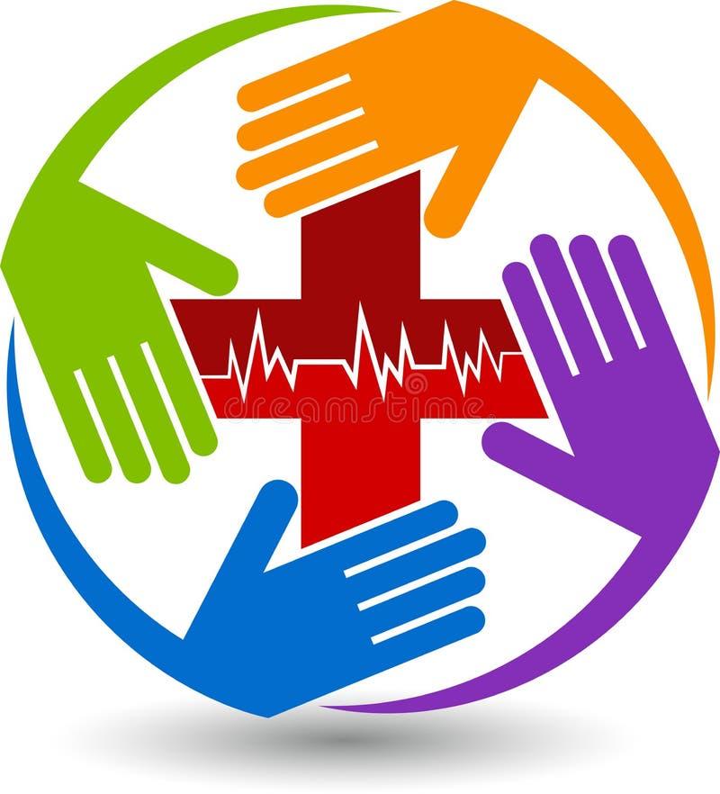 Het embleem van de handenzorg stock illustratie