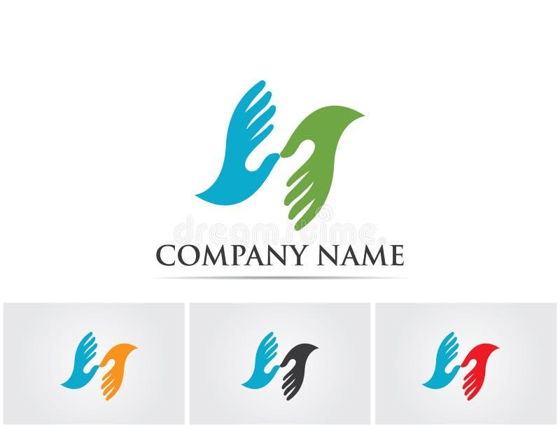 Het embleem van de handhulp en van het symbolenmalplaatje pictogrammen app, stock illustratie