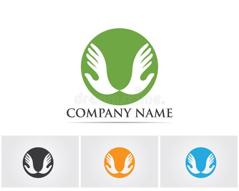 Het embleem van de handhulp en van het symbolenmalplaatje pictogrammen app, royalty-vrije illustratie