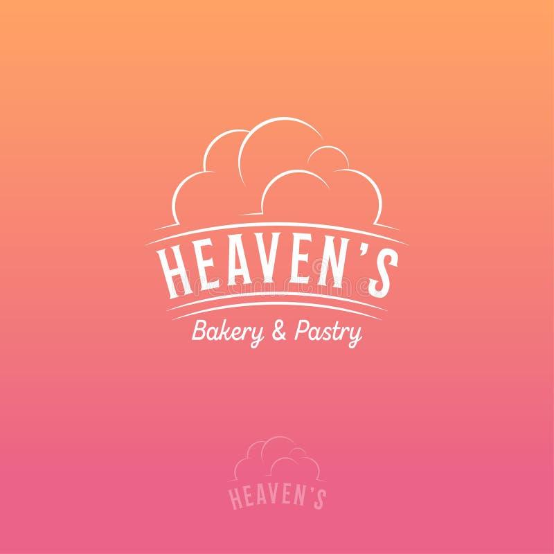 Het Embleem van de hemel Bakkerij en gebakjeembleem op roze-oranje achtergrond stock illustratie