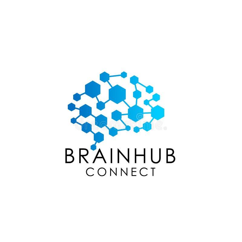 het embleem van de hersenenverbinding met zeshoek Digitale hersenen de vector van het het embleemontwerp van de hersenenhub royalty-vrije illustratie