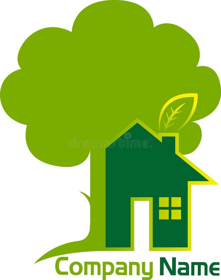 Het embleem van de huisboom vector illustratie