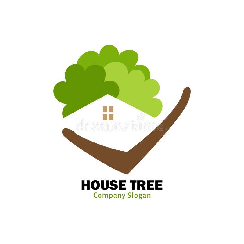 Het embleem van de huisboom voor het groene leven stock illustratie