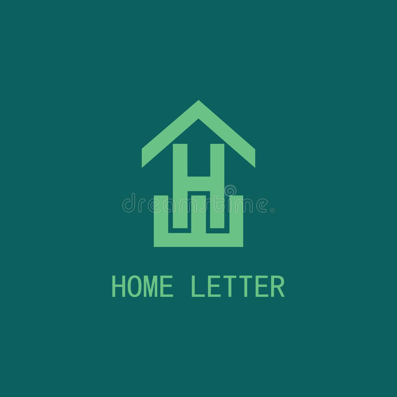 Het embleem van de huisbrief H stock illustratie