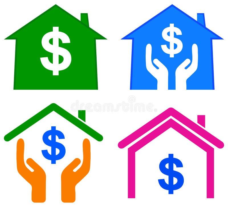 Het embleem van de huisdollar vector illustratie