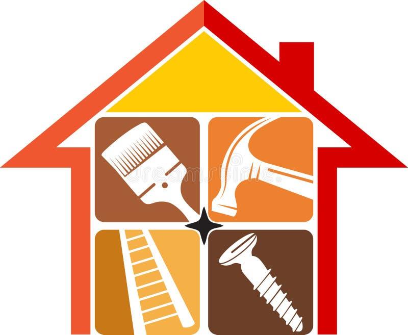 Het embleem van de huisreparatie royalty-vrije illustratie
