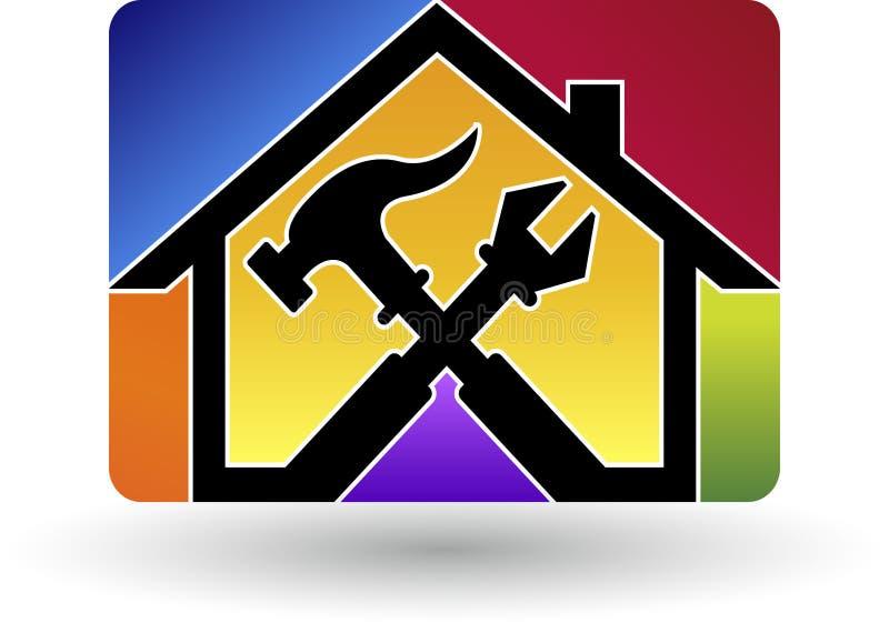 Het embleem van de huisreparatie vector illustratie