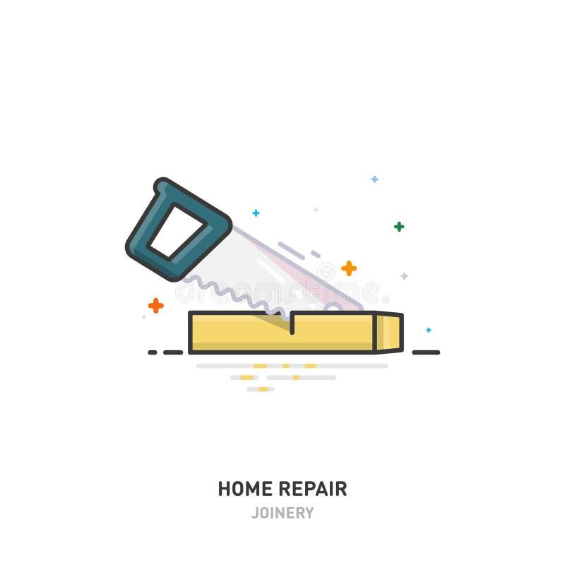 Het embleem van de huisreparatie Houten straal en zaag schrijnwerkerij Het Ontwerp van de lijn Vector illustratie royalty-vrije illustratie