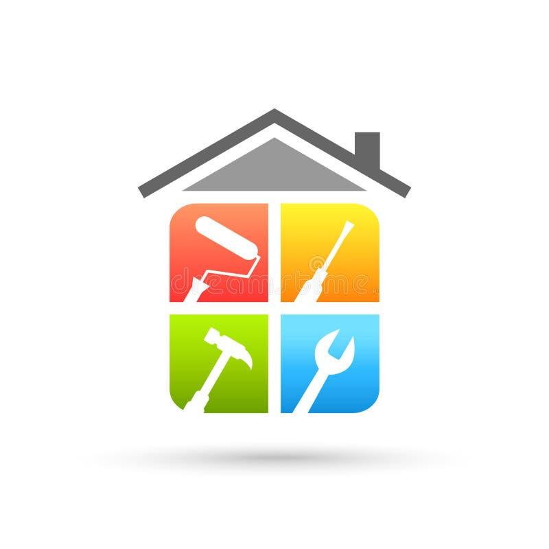 Het embleem van de huisreparatie met het werkhulpmiddelen royalty-vrije illustratie