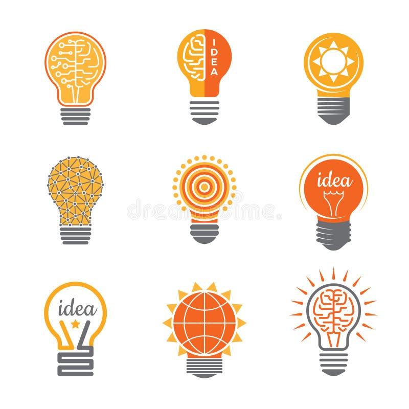 Het embleem van de ideeënlamp Van de de bedrijfs bol heldere oranjegele elektricien van de elektronika lichte energie creatieve s vector illustratie