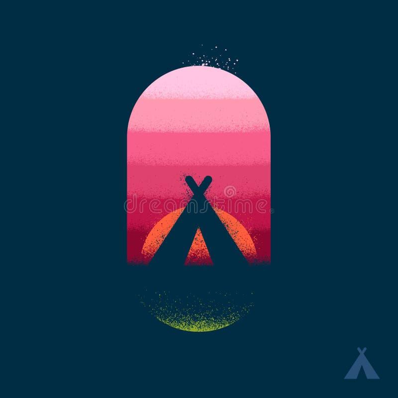 Het embleem van de kamptent vector illustratie