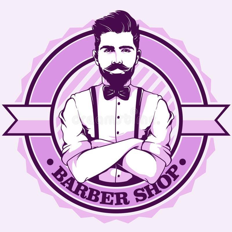 Het embleem van de kapperswinkel met de mens royalty-vrije illustratie