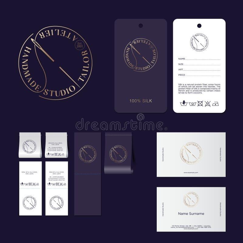 Het embleem van de kleermakersstudio Atelieremblemen Brieven en een naald met een draad in een cirkel Identiteit, etiketten, mark royalty-vrije illustratie