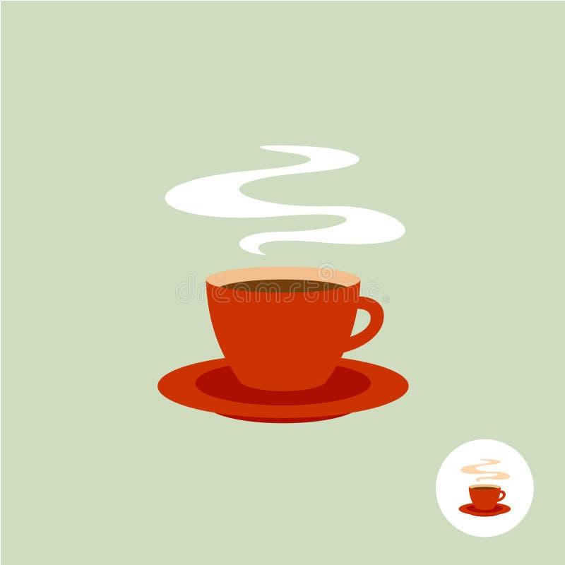 Het embleem van de koffiekop met stoom royalty-vrije illustratie