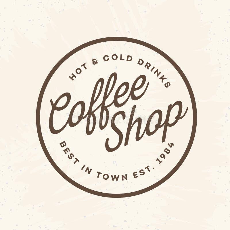 Het embleem van de koffiewinkel met teken hete en koude die dranken op achtergrond voor koffie, winkel worden geïsoleerd royalty-vrije illustratie