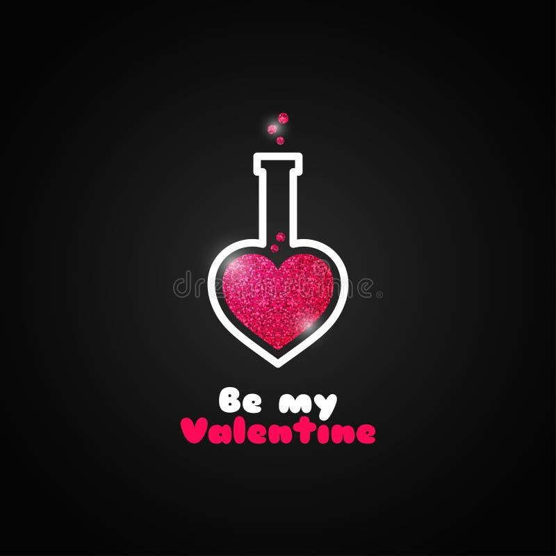 Het embleem van het de liefdedrankje van de valentijnskaartendag op zwarte achtergrond royalty-vrije illustratie