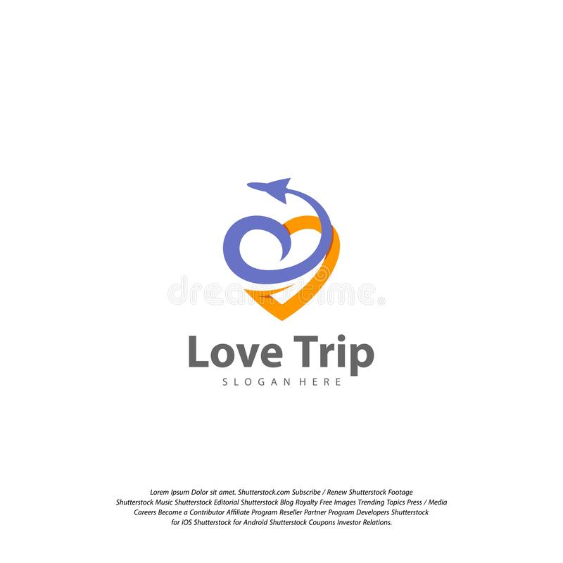 Het Embleem van de liefdereis Het ontwerp Vectormalplaatje van het reisembleem stock illustratie