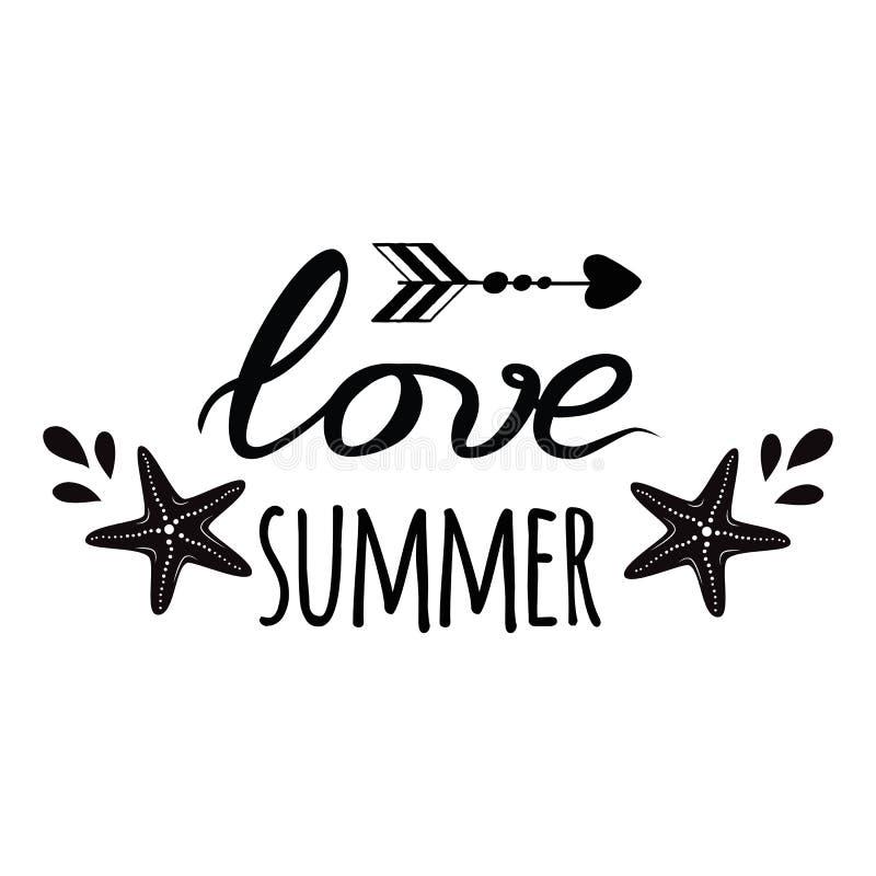 Het embleem van de liefdezomer Vector inspirational vakantie en reiscitaat met seastar, golf in de zwarte druk van de kleurenzome stock illustratie