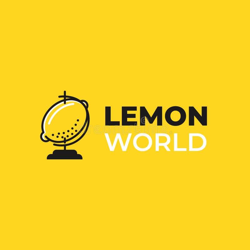 Het embleem van de limonadewereld Logotype met heldere verse citroen De zomertekening voor een smoothieswinkel stock illustratie