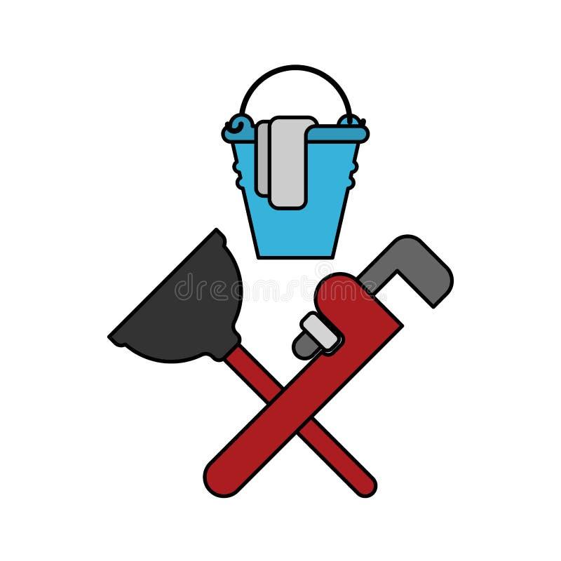 Het embleem van de loodgieterdienst Loodgieter en Logo Cleaning rubberduik vector illustratie