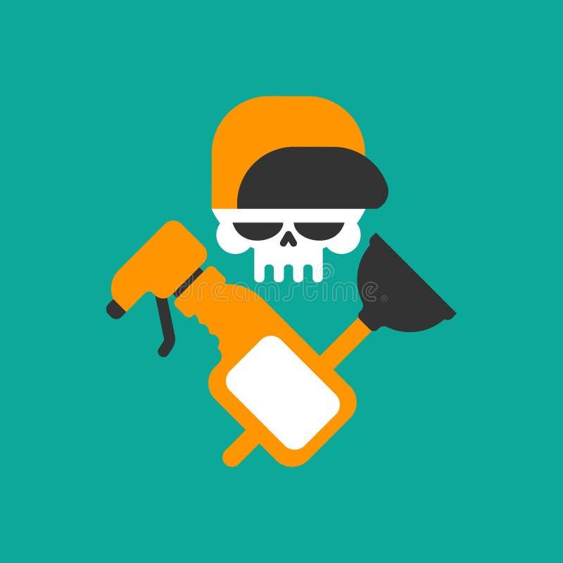 Het embleem van de loodgieterdienst Loodgieter en Logo Cleaning Schedel en oneffenheid royalty-vrije illustratie