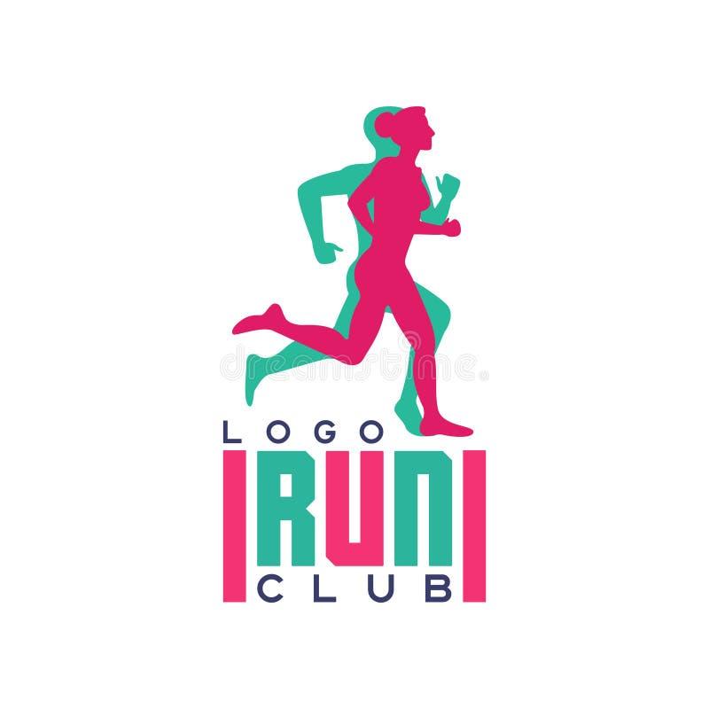 Het embleem van de looppasclub, embleem met abstracte lopende mensensilhouetten, etiket voor sportclub, sporttoernooien, de concu royalty-vrije illustratie