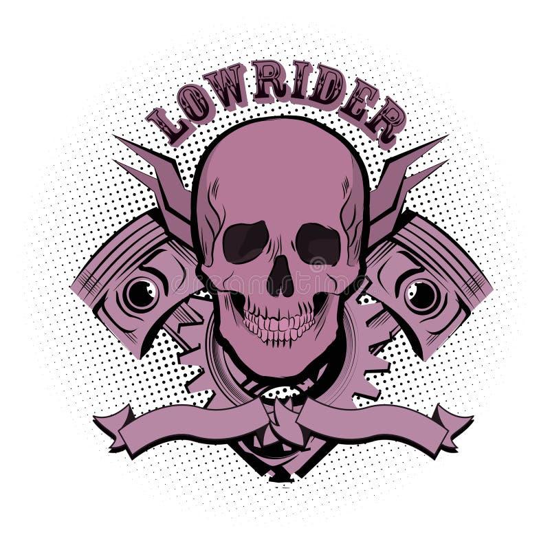 Het embleem van de Lowriderschedel Vector illustratie vector illustratie