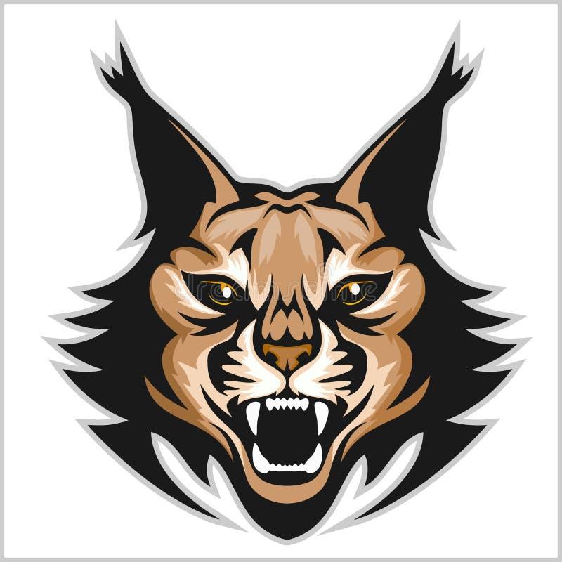 Het embleem van de lynxmascotte Hoofd van lynxen geïsoleerde vectorillustratie royalty-vrije illustratie